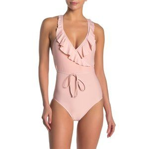 NWT Ella Moss Ruffle Surplice One-Piece Swimsuit S